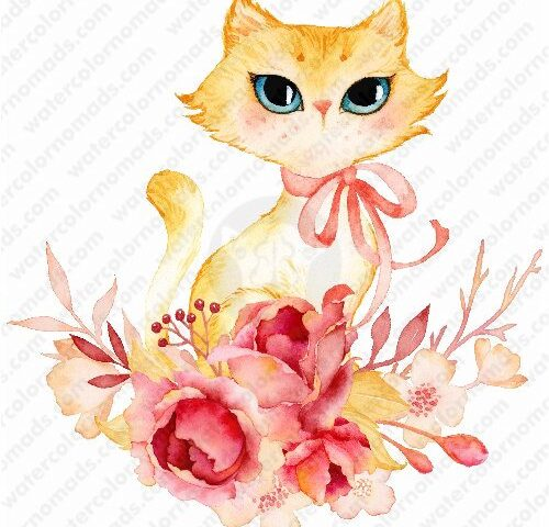 Kitten in Flower Nest illustration