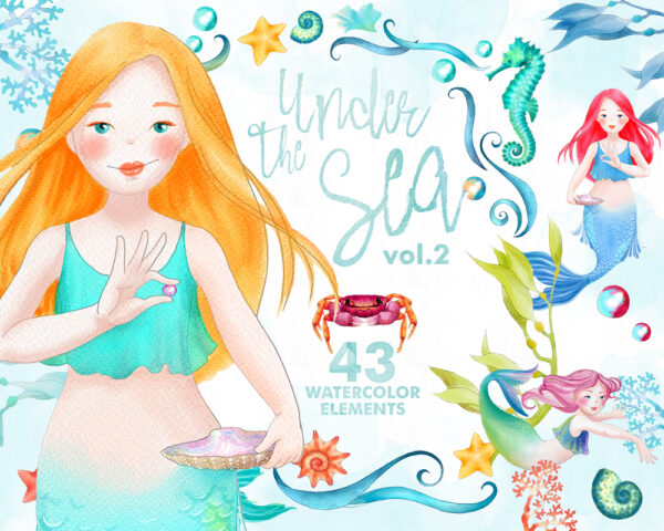 Under the Sea - Mermaid Clipart collection