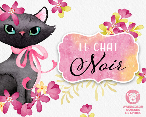 Black Kitten Clipart Set