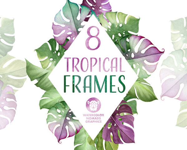 Tropical leaves & Flowers Frames Clipart is a new addition to the Aloha Kakou collection here. It includes 8 beautiful frames made of tropical leaves and flowers, served in two formats - PNG with transparent background and JPG.
