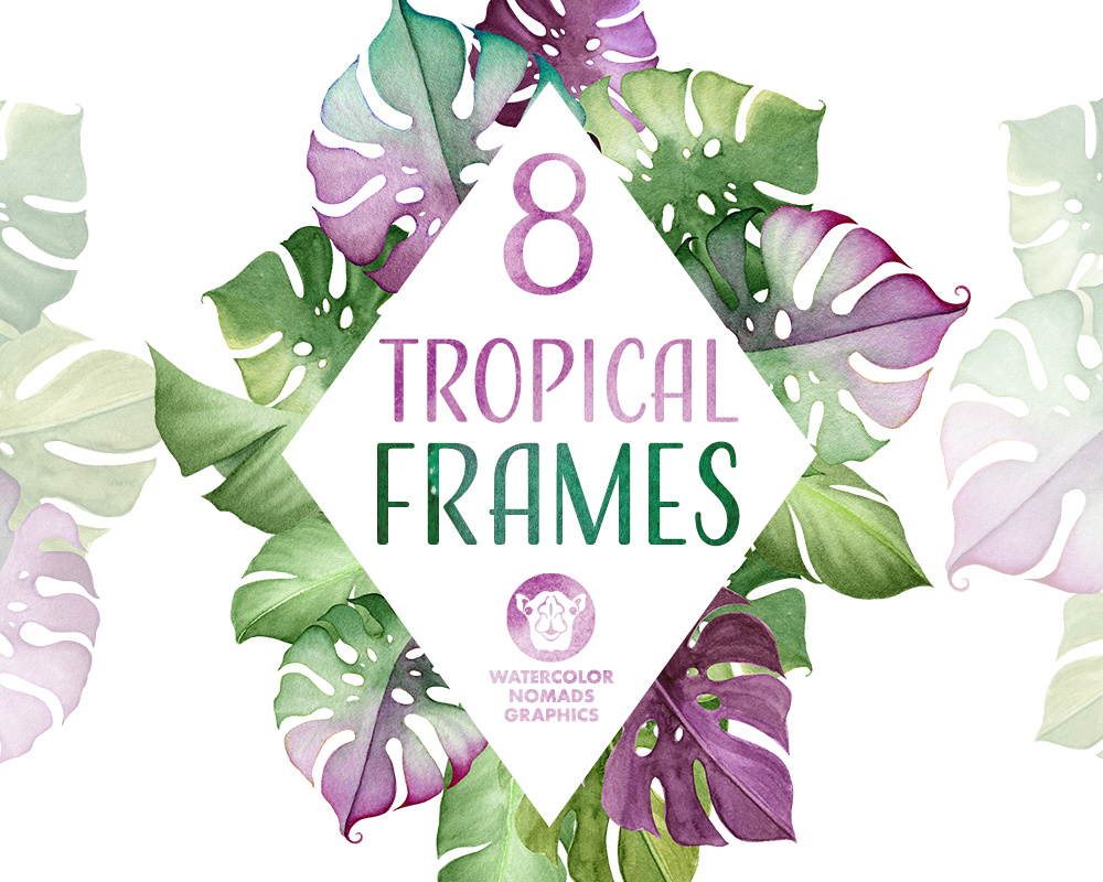 Tropical leaves & Flowers Frames Clipart is a new addition to the Aloha Kakou collection here. It includes 8 beautiful frames made of tropical leaves and flowers, served in two formats – PNG with transparent background and JPG.