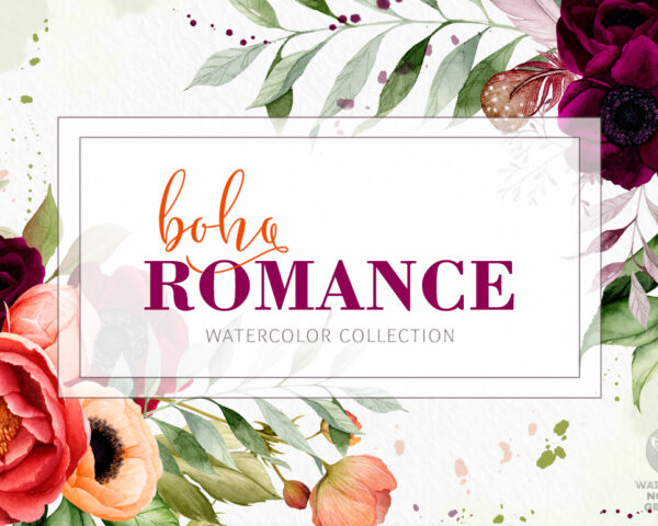 Boho Romance - Watercolor Flowers Collection