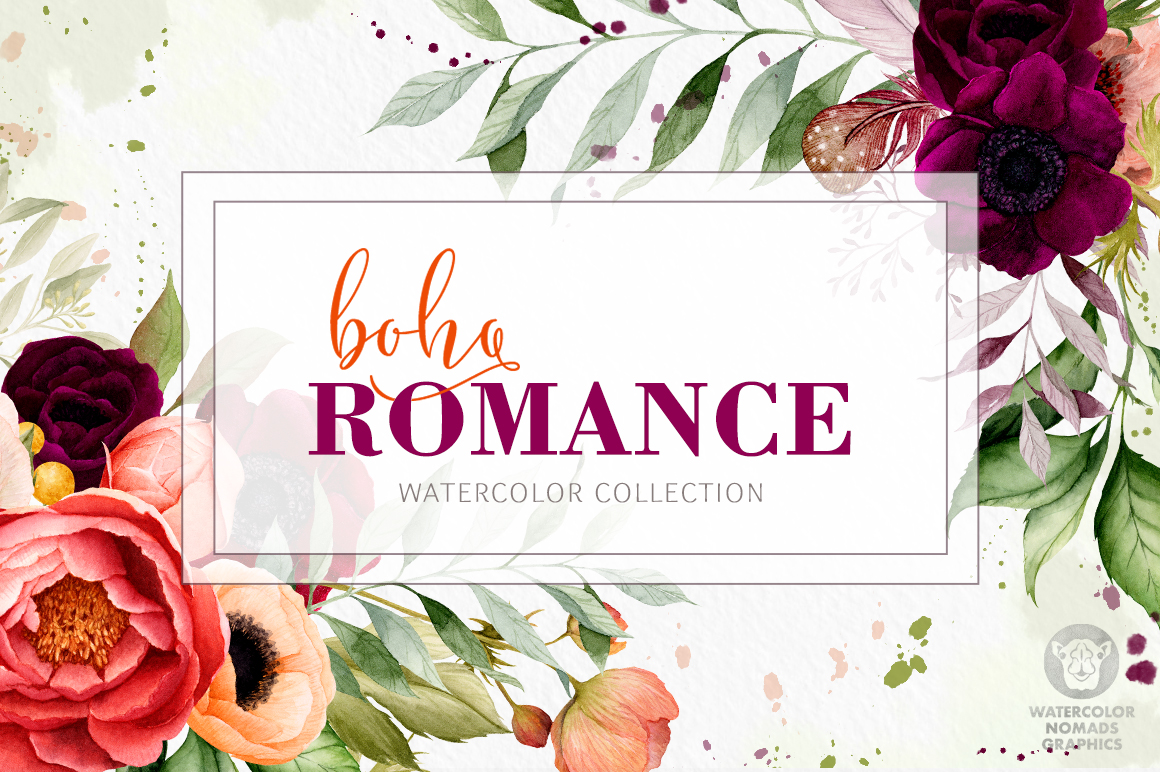 Boho Romance – Watercolor Flowers Collection
