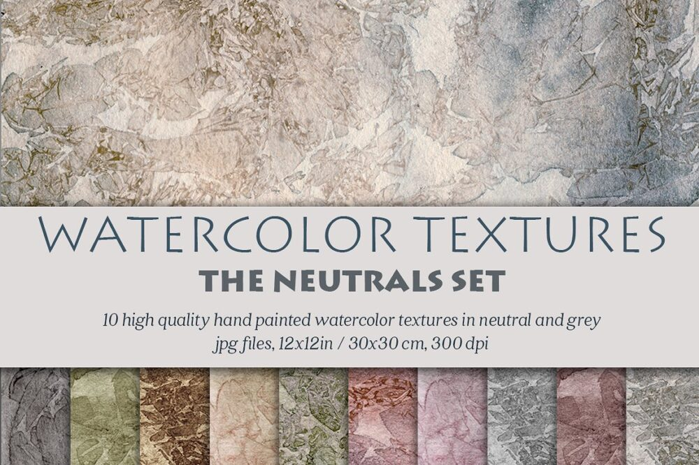 watercolor textures in grey and muted neutrals